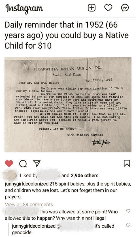 Instagram post about victims of residential school system